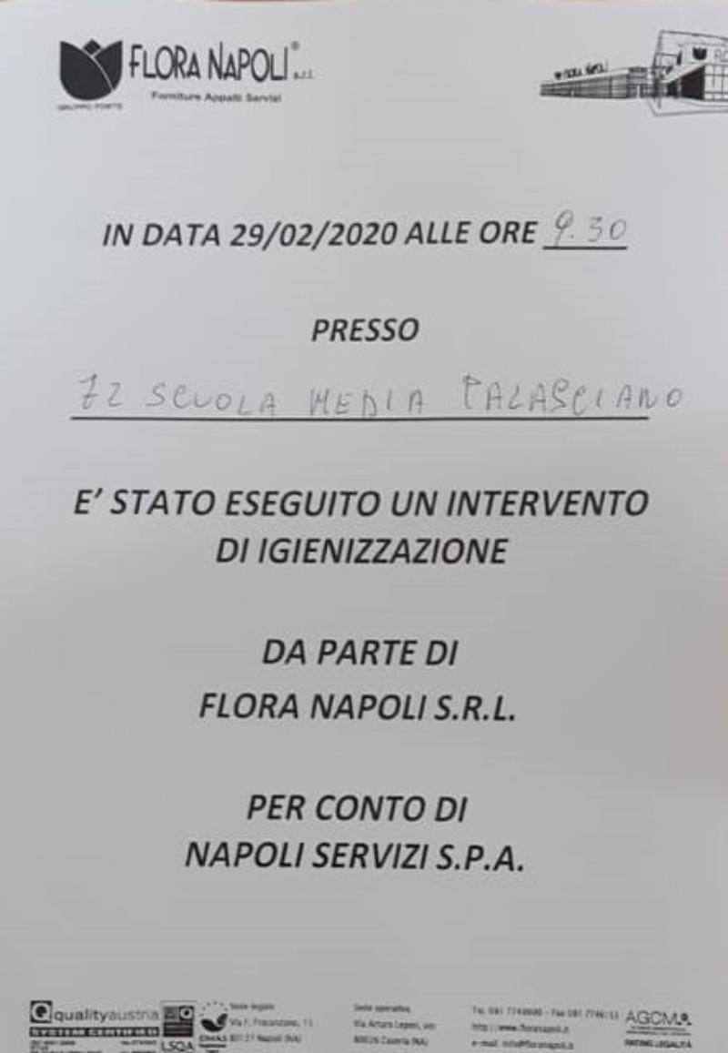 OPERAZIONE DI IGIENIZZAZIONE DI TUTTI I PLESSI ...