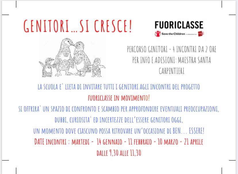 Progetto FUORICLASSE IN MOVIMENTO - GENITORI...SI CRESCE!